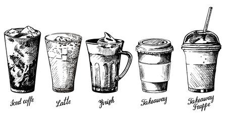 ベクトル ヴィンテージ手コーヒー飲料のさまざまな種類の描き下ろしイラストです。アイス コーヒー、ラテ、メニューのバナー、ポスターのアイル  イラスト・ベクター素材
