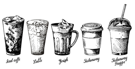 Vector vintage hand drawn illustration of different types of coffee drinks. Iced coffee, latte, irish, takeaway and frappe design elements for menu, banner, poster. Illustration