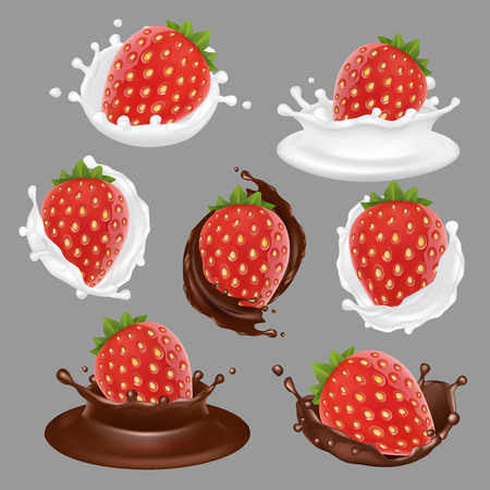 Vector realistic strawberry with chocolate, whipped cream and yogurt icon set. Sweet fruit and milk dessert brand advertising templates.