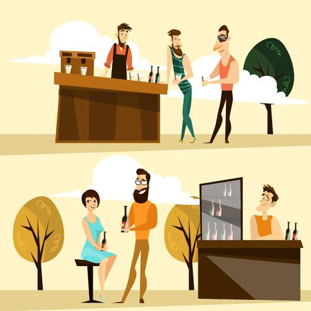 Vector illustration of bartender at workplace and people drinking beer at outside bar, pub, cafe or restaurant. Beer party cartoon characters flat style design elements, icons.