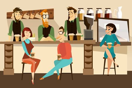 Coffee house concept vector illustration. Barista and waiters standing behind of bar counter, visitors sitting at bar counter and drinking coffee. Flat style design.