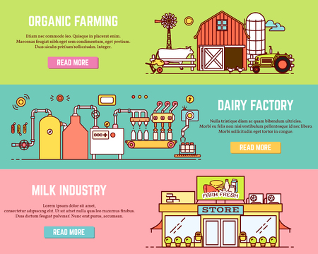 Vector set of milk process horizontal banners. Organic farming, Dairy factory, Milk industry concepts in modern thin line flat style for dairy business advertising.