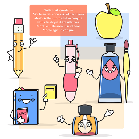 school: Vector set of drawing and painting items. Pen, pencil, paints, brush in cartoon style. Back to school concept design elements. Illustration