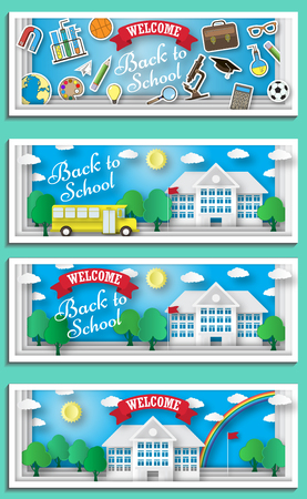 school: Back to school concept vector poster. School bus with building and blackboard on background. City primary and high school. Education banner in flat cartoon style.