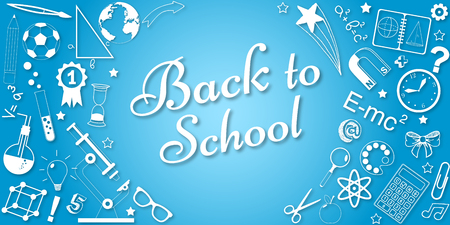 Back to school concept vector banner. Poster for sales and web promotions in school season. Illustration