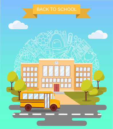 Back to school concept vector poster. School bus with building on background. City primary and high school. Education banner in flat cartoon style Illustration