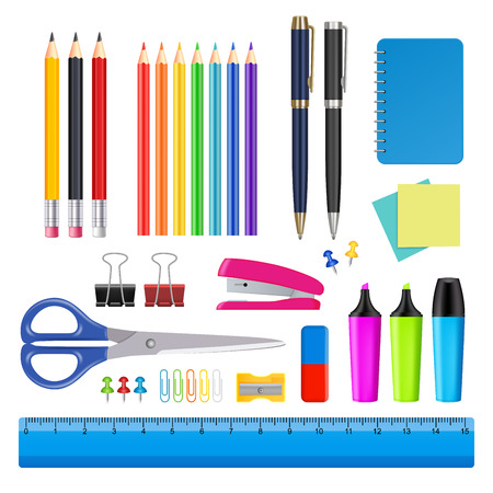 Vector school and office supplies icon set Çizim