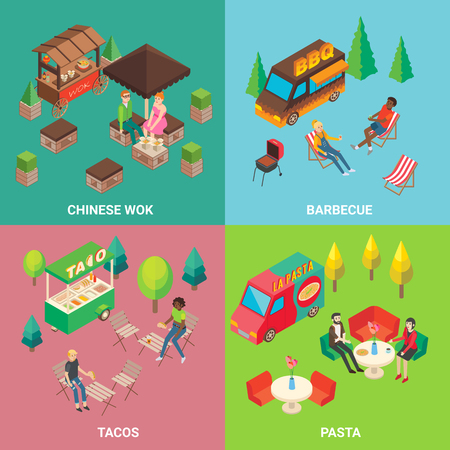 Vector street food concept square poster set
