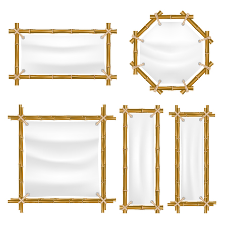 A Vector bamboo frame with canvas set. Wooden frame made of bamboo sticks tied up with ropes. Bamboo home decoration. Ilustração