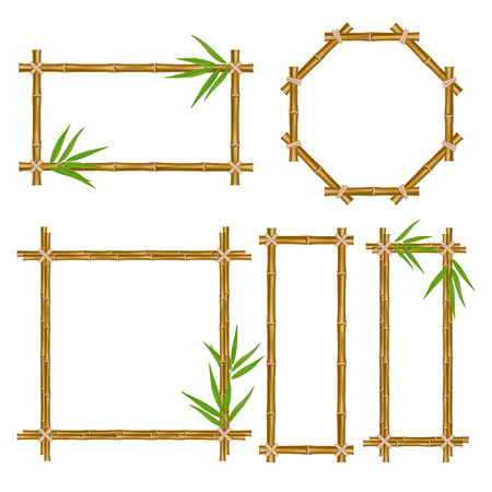 A Vector bamboo frame set. Wooden frame made of bamboo sticks and bamboo leaves tied up with rope. Bamboo home decoration. Stock Illustratie