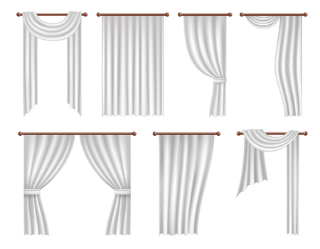 Vector realistic window curtains and drapes set