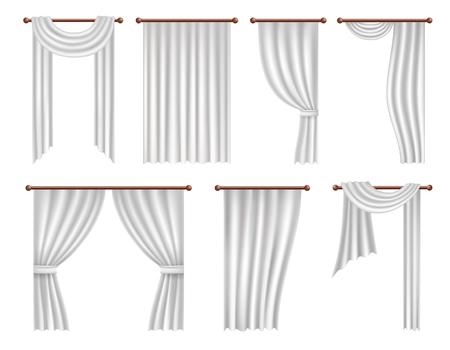 Conjunto de cortinas y cortinas de ventana realista Vector