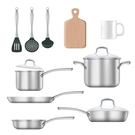 Kitchen utensils vector realistic illustration