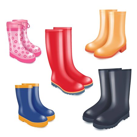 Colored rubber boots vector realistic icon set Illustration