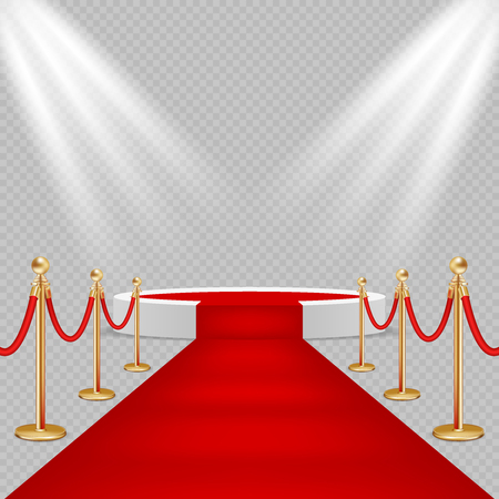 White round podium with red carpet vector realistic illustration