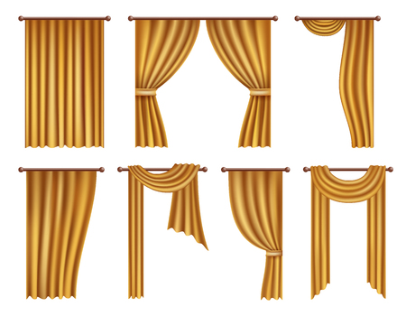 Vector realistic golden window curtains and drapes set