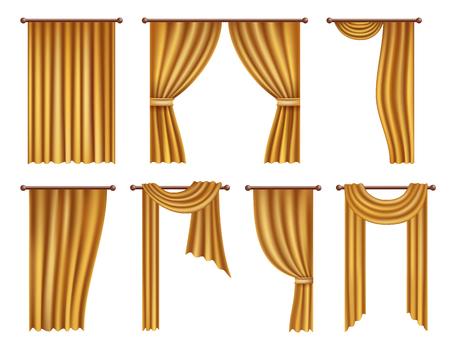 Set de cortinas y cortinas de ventana de oro realista vector
