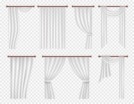 Cortinas y cortinas de ventana blanco realista vector set.