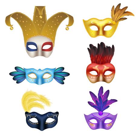 costume ball: Vector realistic carnival or masquerade mask icon set