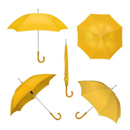 Realistic illustration of yellow umbrellas. Illustration