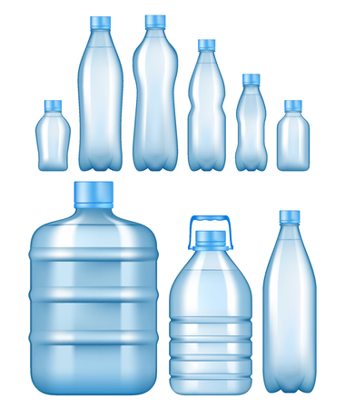 Realistic plastic water bottles set. Stock Illustratie