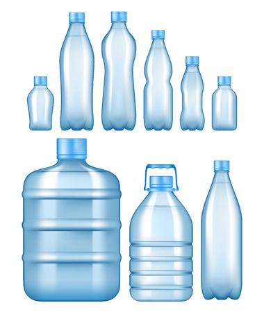 Zestaw realistycznych plastikowych butelek na wodę.