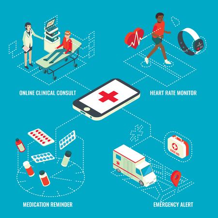 Online medical services isometric infographics illustration Ilustrace