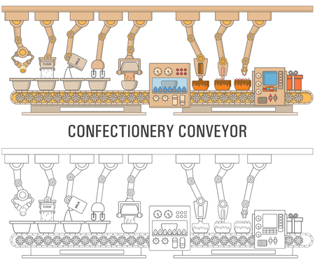 Cake printing machine concept illustration in flat linear style