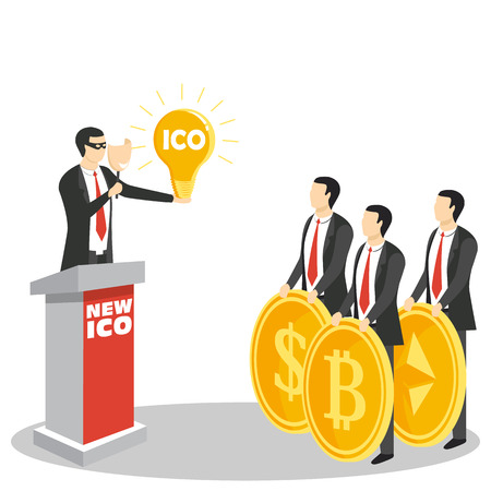 Initial coin offering concept illustration Stock Illustratie