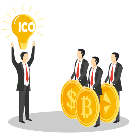 Initial coin offering concept  illustration Illustration