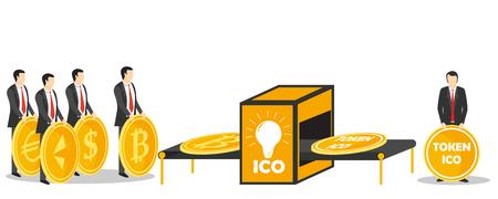 ICO token exchange concept illustration Illustration