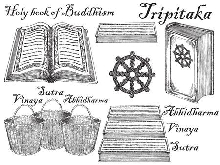 Hand drawn sketch style buddhist scriptures set.