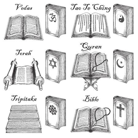 Hand drawn style world religions holy books set.