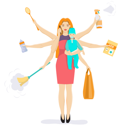 Busy multitasking mother with baby vector flat illustration