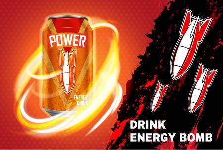 Bomb energy drink ad vector illustration