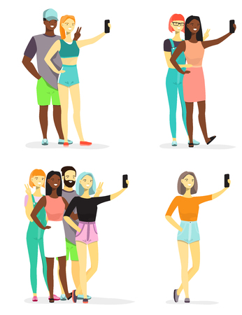Young diverse people taking selfie vector flat Illustration