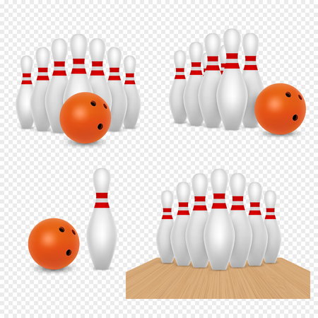 Bowling ball and skittles vector realistic illustration