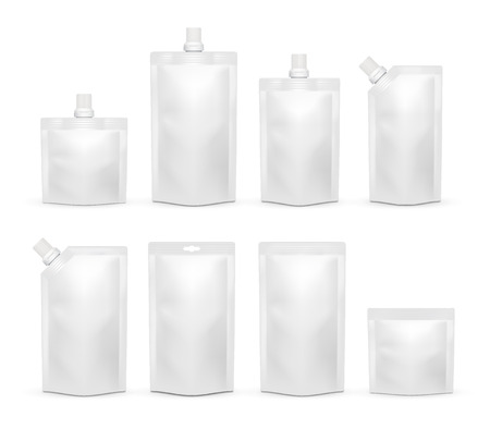 Vector white blank doypack realistic template set Stock Illustratie