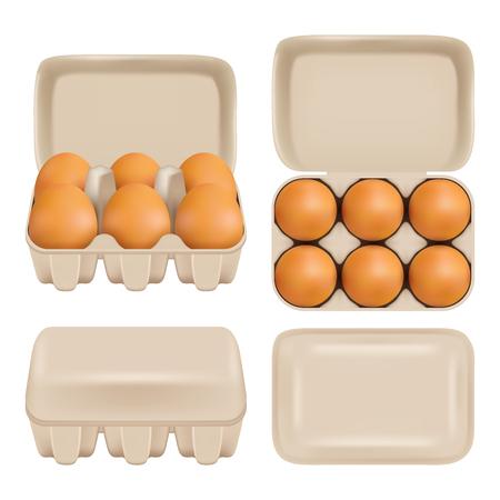 Vector egg carton consumer pack set Vettoriali