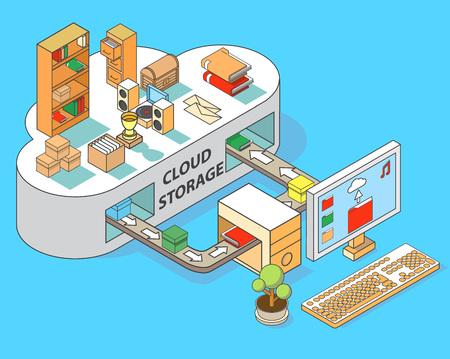 Cloud storage vector flat isometric illustration
