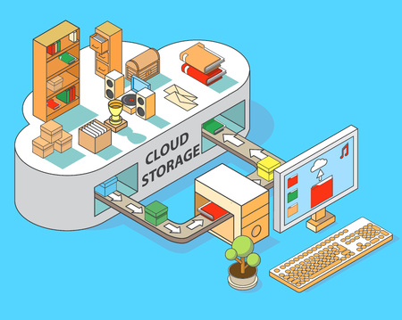 Cloud storage vector flat isometric illustration