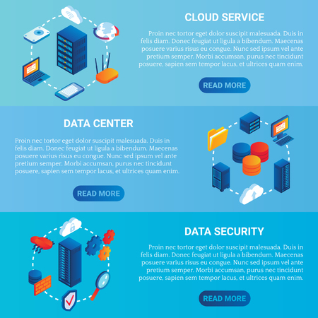 Data center concept vector isometric horizontal banner set Imagens - 90925681