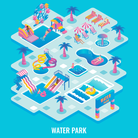 Water park concept vector flat isometric illustration Çizim