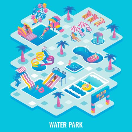 Water park concept vector flat isometric illustration Stock Illustratie