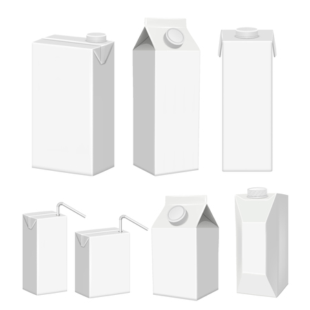 Vector realistic white blank juice carton package template set Illustration