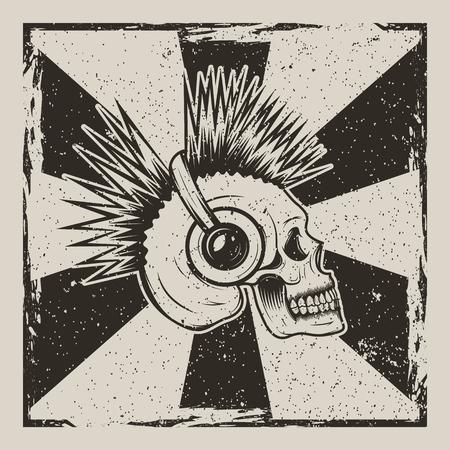 Skull music side view vector vintage grunge design