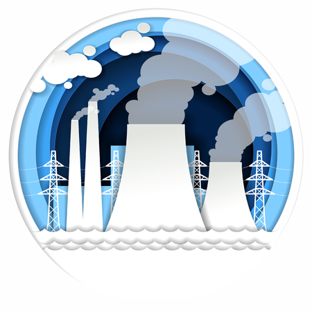 Thermal power plant concept vector illustration in paper art style. Illustration