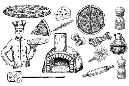Pizza set vector ink hand drawn illustration