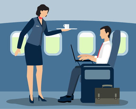 Vector illustration of a stewardess serving a first-class passenger on the flight. Flat style design.