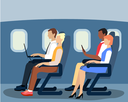 Vector illustration of airline passengers on the plane. Flat style design.